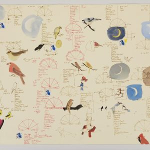 "Birds and Moons I, 1997, ink, watercolor, collaged stamps, on buff Stonehenge paper, 22"" x 30"""