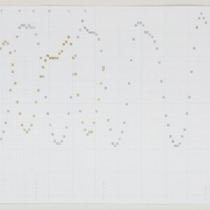 "The Butterfly Effect, 2004, graphite, gold and silver marker on graph paper, 8 ½"" x 14"""
