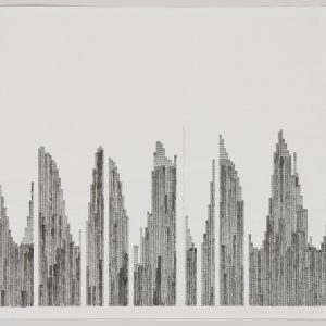 "Sky Scrapers, 2004, ink and graphite on graph paper, 17"" x 22"""