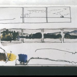 "1998 First Panorama Journal Sketches pen and ink and watercolor in journal, 8"" x 5 ½"""