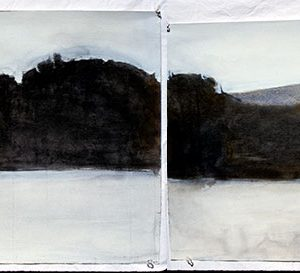 "2001 First Panorama 22"" x 120"", (4 sheets, each 22"" x 30""), graphite, charcoal, and watercolor on paper"