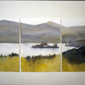"2003 The View 1, 2, 3, 30"" x 66"" (3 sheets, each 30"" x 22"") watercolor, charcoal on paper"
