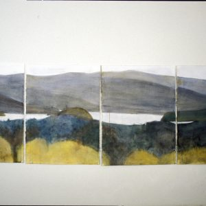 "2003 The View 6, 7, 8, 9, 30"" x 88"" (4 sheets, each 30"" x 22"") watercolor, charcoal on paper"