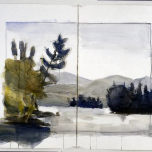 "2003 Untitled, 30"" x 44"" (two sheets, 30"" x 22"") watercolor, charcoal on paper"