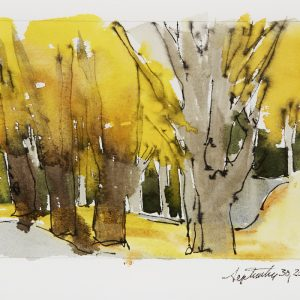 "2006 Maple Trees source sketch, 5"" x 7"", pen and ink and watercolor on paper"
