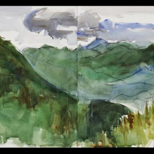 2006 View from Gale Head Mtn, graphite, charcoal, watercolor on paper