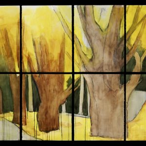 "2007 Yellow Maples, 60"" x 88"" (8 sheets, each 30"" x 22""), graphite charcoal, and watercolor on paper"