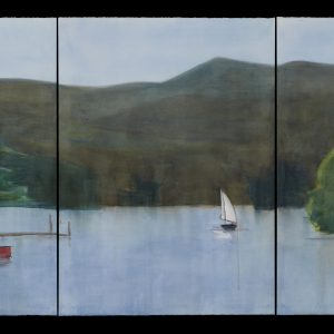"2017 Squam-Coming Home, 30"" x 66"" (3 sheets, each 30"" x 22"") graphite, charcoal, and watercolor on paper"