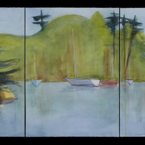 "2017 Squam-Sailboats In The Cove, 30"" x 66"" (3 sheets, each 30"" x 22"") graphite, charcoal, and watercolor on paper"